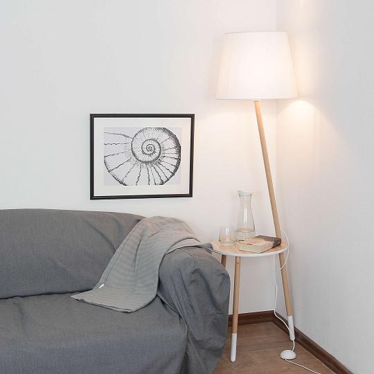 Wohnzimmer Skandinavisches Design: Dreibein Stehleuchte Skandinavisches Design Holz Weiß