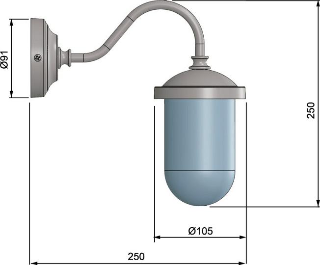 Lampada applique per esterni ottone cromato ip firenze marittima