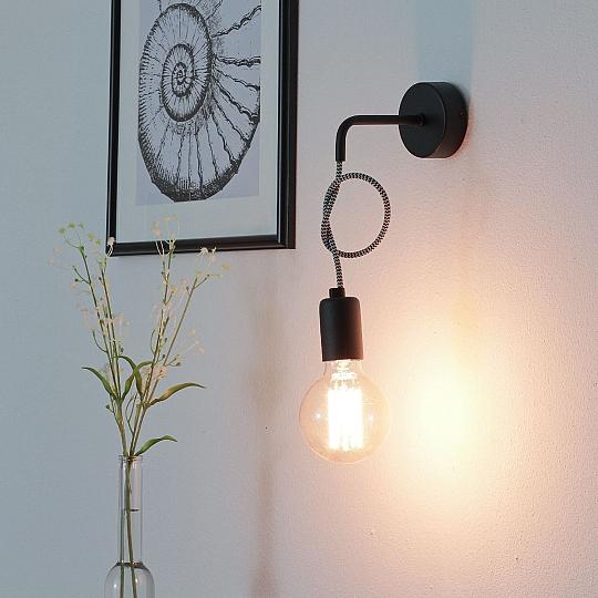 Stilvolle Wandleuchte Schwarz E27 Wand Vintage Leuchte Wandlampe NEU Flur
