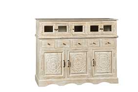 Details about Buffet Konrad Mango Wood Glass Shabby Chic Sideboard Dining  Living Room- show original title