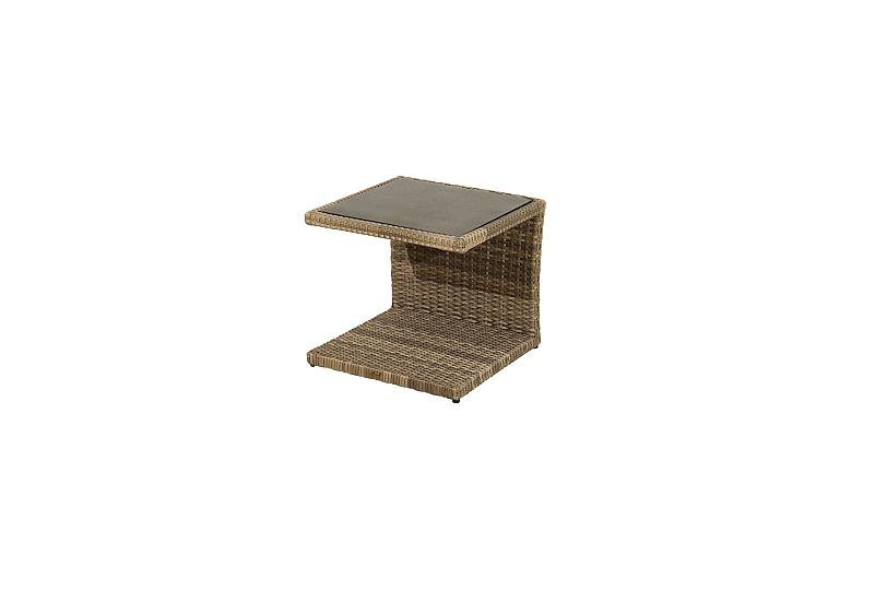 Détails sur Table D\'Appoint Rania Rotin Synthétique Verre H:50cm Salon  Jardin, Terrasse