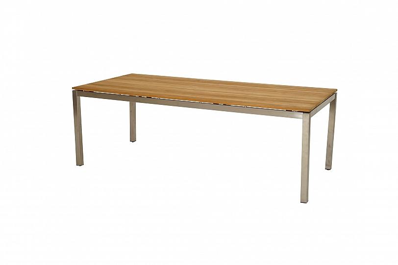 Details Zu Premium Tisch Aus Edelstahl Teak Holz 2 2m Lang Esstisch Garten Outdoor Terrasse