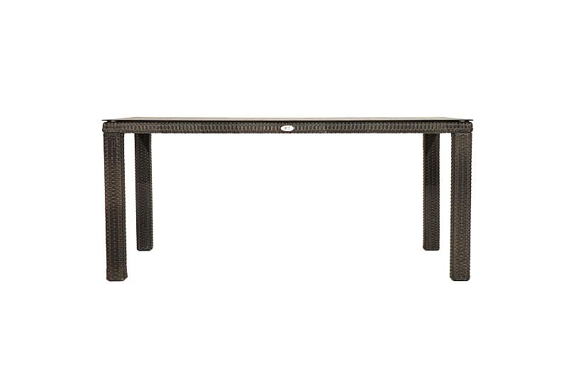 Détails sur Moderne Extérieur à Manger Rotin Synthétique Verre L: 170cm  Rocky Table Jardin
