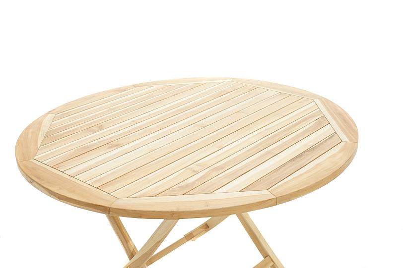 Détails sur Table Pliante en Solide Bois de Teck Ø120cm Rond Table Jardin  Terrasse Balcon