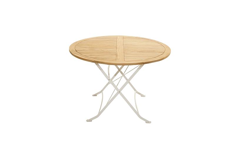 Détails sur Romanischer Table Pliante Tom Teck Bois Fer Rond Ø110cm à  Manger Jardin Terrasse