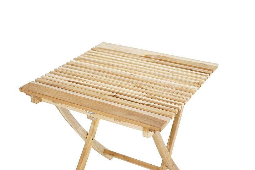 Détails sur Table Pliante Bois Teck 70x70 cm Robuste Extérieur Ess Jardin  Terrasse Balcon