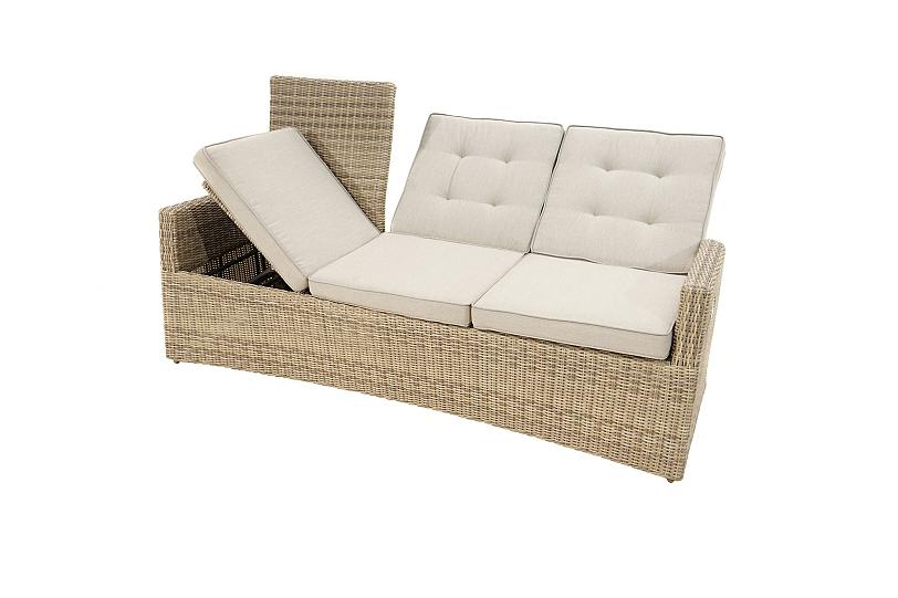 Details About Verstellbares Lounge Sofa Polyrattan Mit Polster 3 Sitzer Terrasse Garten
