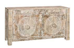 Sideboard-KORBA-Akazie-Shabby-Chic-Turen-geschnitztes-Sonnen-Motiv-Wohnzimmer